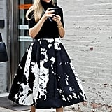 Joanna Hillman made ladylike look so cool in a paint-splattered Tibi Resort 2014 skirt.
