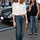 Jayma Mays's look taps into the classics with high-waisted denim and a simple button-up.