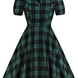 Wellwits Green Check Button Down Shirt Dress