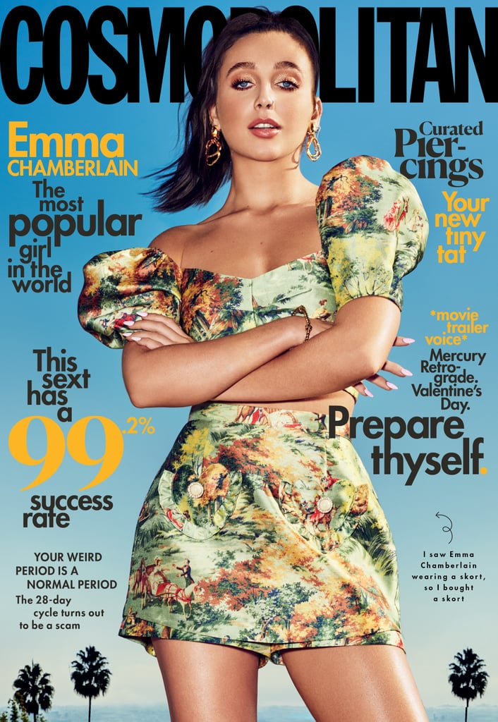 Emma Chamberlain on the cover of Cosmopolitan in a puff-sleeve crop top and matching skirt in a painting-inspired print.