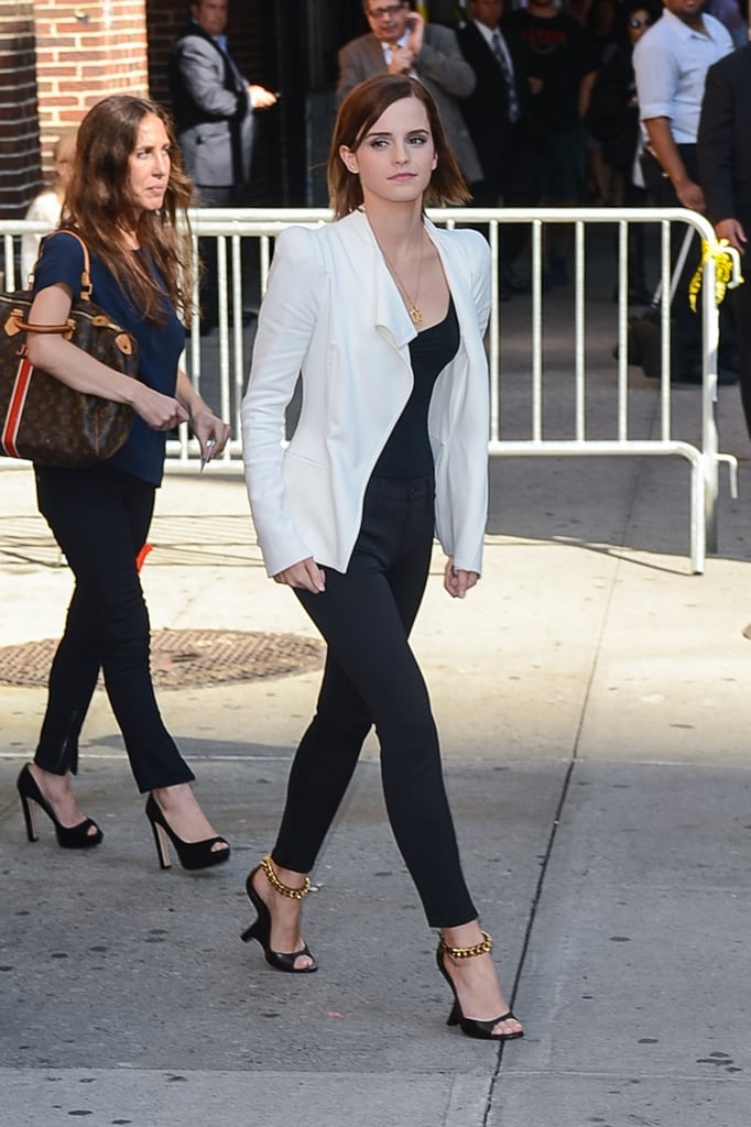 """Emma Watson wore a Tom Ford jacket and shoes to stop by the Late Show With David Letterman yesterday in NYC. She chatted about her upcoming film, The Perks of Being a Wallflower, which will premiere at the Toronto International Film Festival ahead of its Sept. 20 release. Host David Letterman asked Emma about the film, which addresses heartbreak. Emma responded, """"It's a right of passage . . . [that] first boyfriend who breaks up with you and you think the world is going to end. It's awful — everyone has some version of that."""" The 22-year-old star may be best known as Hermione from the Harry Potter series, and she addressed breaking out of that mold in the October issue of Glamour. Next up for Emma will be a trek to LA, where she'll be in attendance at tonight's MTV VMAs."""