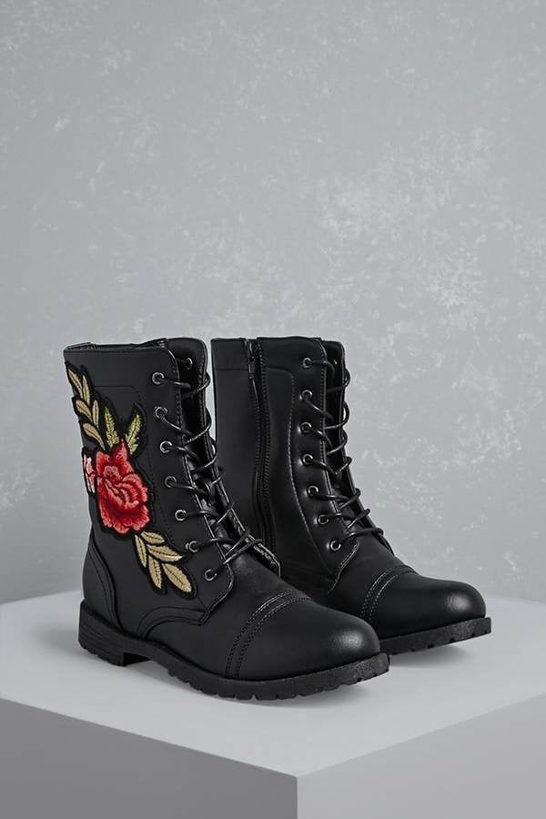 Forever 21 Floral Patch Combat Boots Cheap Fall Shoes