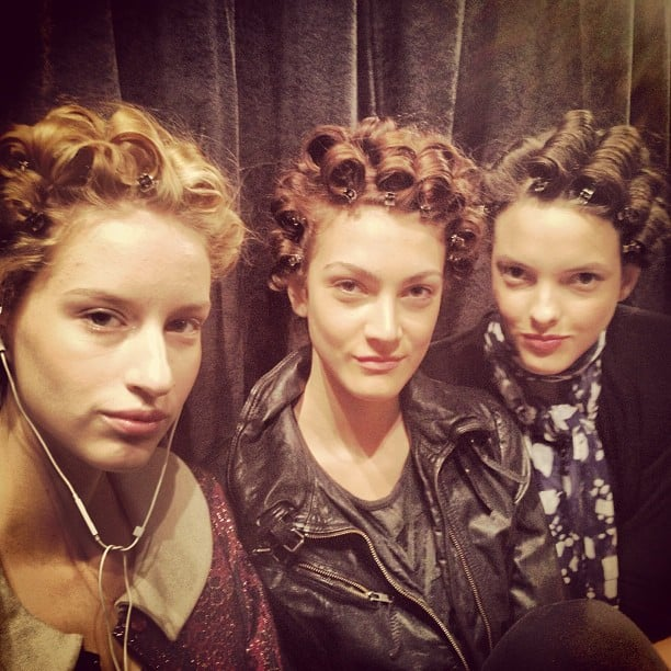 Pin curls were the secret to the voluminous '70s hair on the Jenny Packham runway.