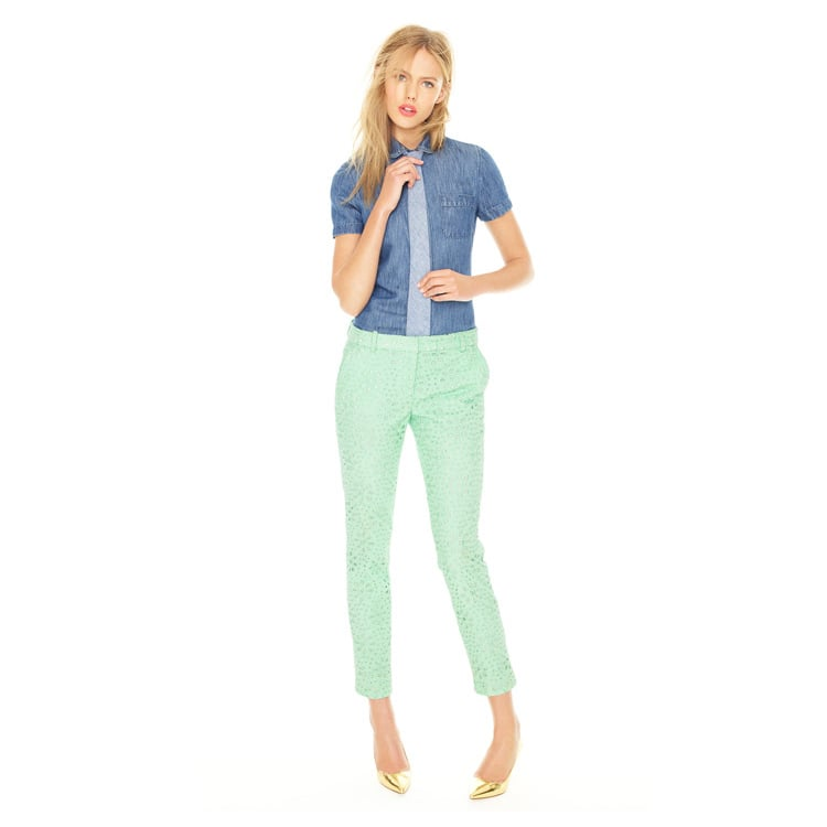 Dress up your denim shirt with statement pants, heels, and a boyish tie.