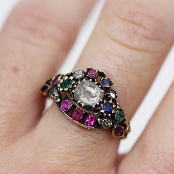 of diamonds vintage weddings a center photo stones davis two rows ring shank jewelry bob inspired by blue inside this news img stone photography features rings engagement split dawn for colorful with trendsetting colored surrounded brides