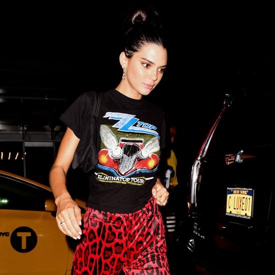 Kendall Jenner Red Animal Print Pants New York Fashion Week