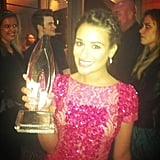 Lea Michele shared a photo of herself with her People's Choice Award. Source: Twitter user msleamichele