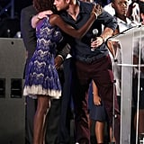 Harry hugged 2017's Queen's Young Leader recipient at the Kensington Oval Cricket Ground in Barbados in 2016.