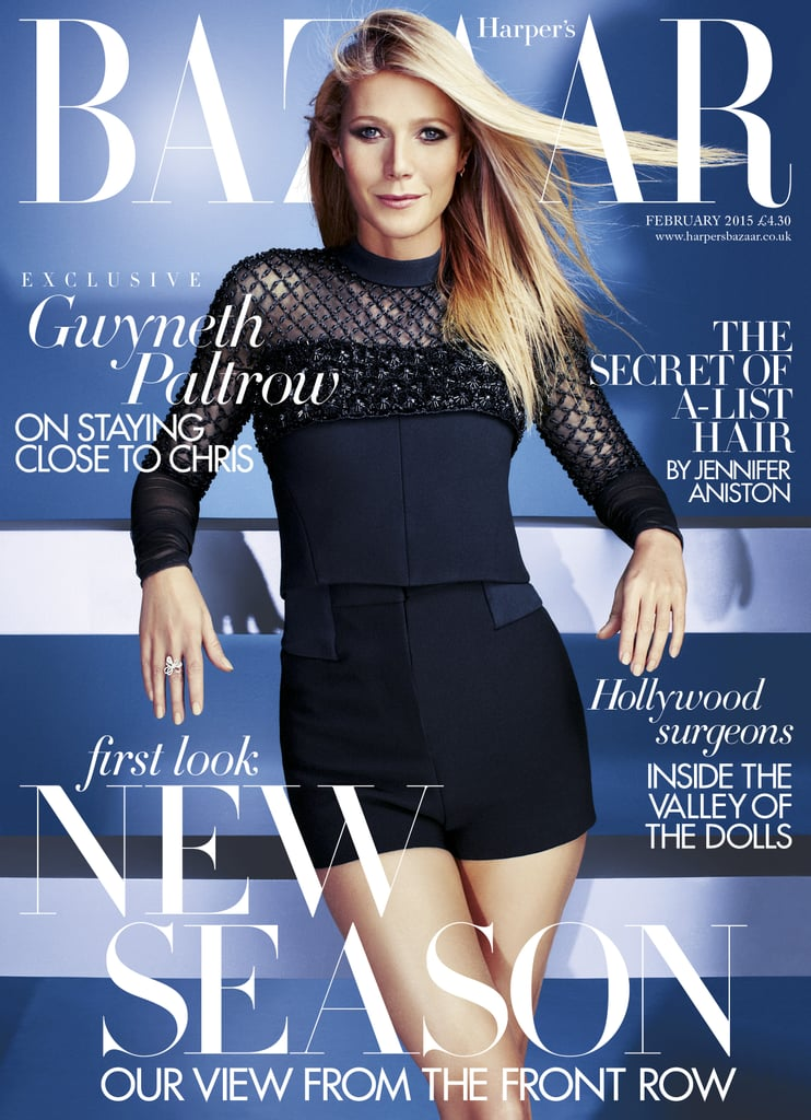 """Gwyneth Paltrow graces the February cover of Harper's Bazaar UK, which hits newsstands on Friday. In her interview with the magazine, Gwyneth opens up about the """"deep comfort"""" of life in LA, how she's been influenced by her father, and how women need to really think about why they criticize other women. The 42-year-old actress, who stars opposite Johnny Depp in Mortdecai, out next month, also talks about a woman's right to define herself, saying she's learned """"the power of kindness and the importance of non-judgmental ways of looking at others."""" Highlights from Gwyneth's interview can be seen here, and the full feature appears in the February issue of Harper's Bazaar UK, which hits newsstands on Jan. 2 and is also available as a digital edition.   On her life in LA: """"There's a deep comfort about it because it's so familiar. The other day I was lying on the grass and the kids were playing and I was looking at the blue sky and the palm trees — and there was something about the weather and the smell and I was, like, eight years old again. I had such a strong memory of being a kid here – it's a really nice place to be a little kid, and it's great to watch my children have that experience.""""  On how she's been influenced by her father: """"My father was totally self-made. I grew up with the benefit of a great education and a beautiful house, but my father always said, 'The day you leave, that's it. You're not getting anything,' and he stuck to it. He was so hardcore about me making my own way. . . . I've earned everything myself, and I've never taken any money from anyone — my father really pounded that into me, so I got the message.""""  On women criticizing women: """"Women really need to examine why they're so vitriolic to other women; why they want to twist words, why they want to read about someone else in a negative light and why that feels good to them. . . . But I also know a huge tribe of women who are loving and supportive of other women, in ways that are completely tran"""