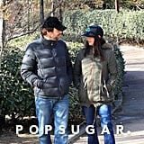 Penélope and Javier chatted during a walk in their hometown of Madrid in January 2013.