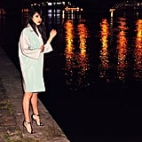 Be inventive with your background. If you're already wearing the perfect pastel coat and sky-high heels, turn up the brightness on your photo and try a nighttime shot.