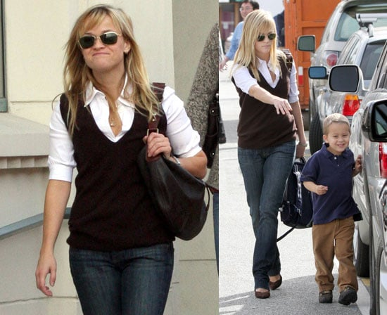 Reese Witherspoon, Deacon Phillippe, Ava Phillippe in Brentwood