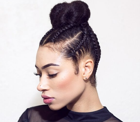 Cornrow braids updo styles popsugar beauty middle east this cornrow and bun hybrid is the protective style you need to try urmus Image collections
