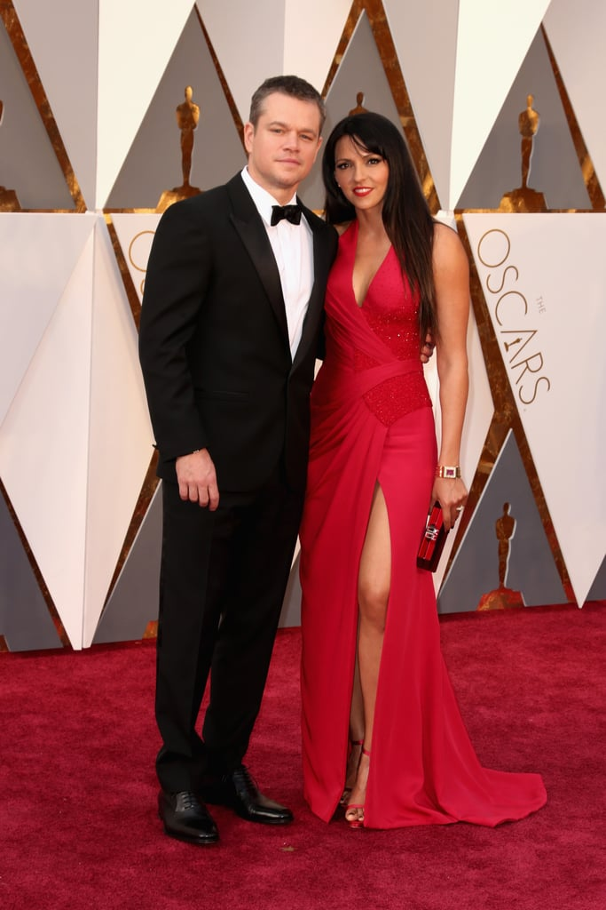 Matt Damon and his wife, Luciana Barroso, turned heads when they arrived at the Oscars on Sunday night. The couple, who have been married for just over a decade, dressed to the nines and stayed close while posing for photographers. Matt is nominated for best actor for his role in The Martian, which racked up an additional six nominations. Keep reading for more of Matt's night, and then see what everyone else is wearing.