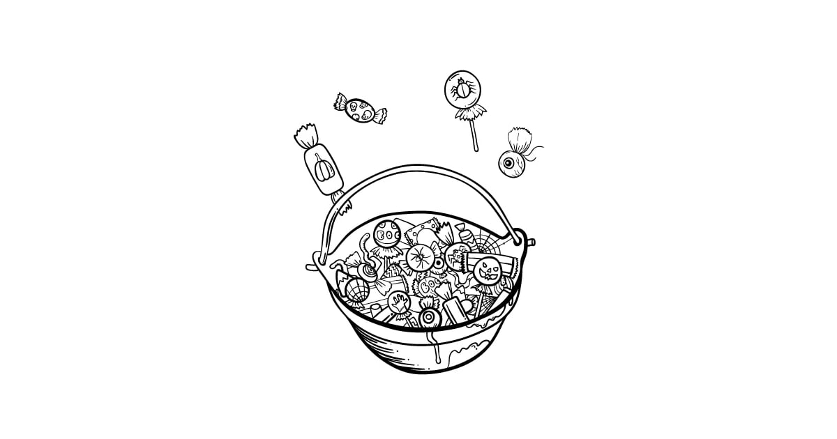 Get the coloring page: candy basket   Halloween Coloring ...