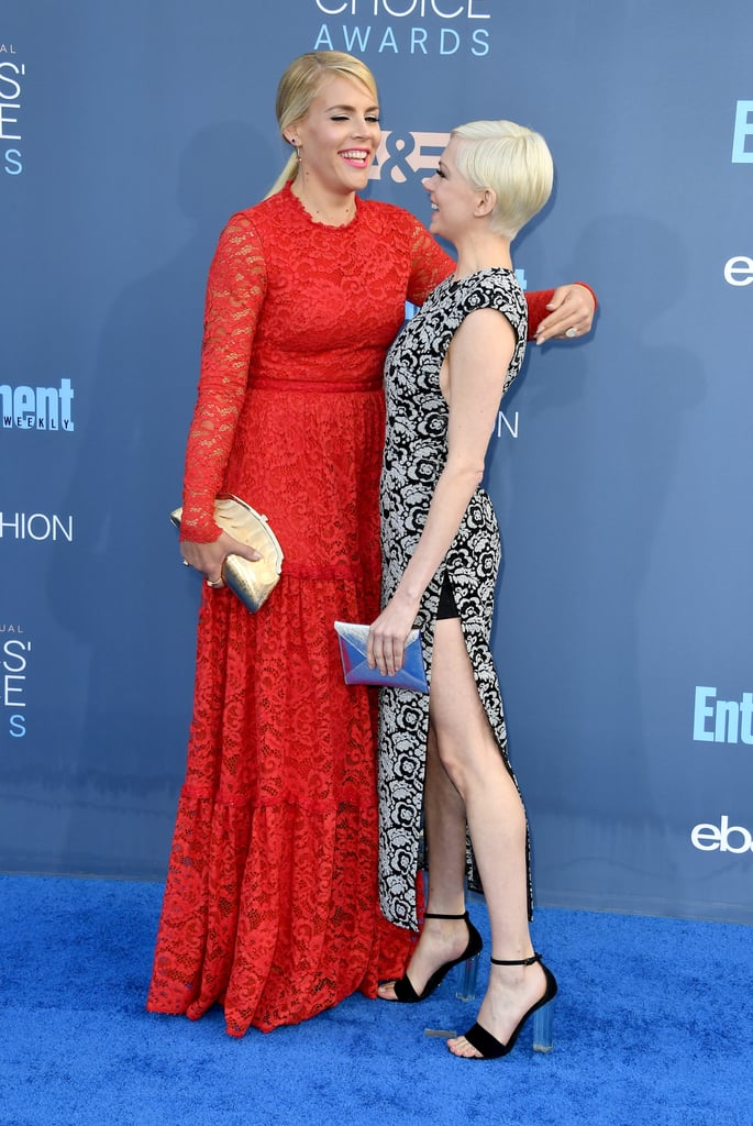 Busy Philipps and Michelle Williams made dreams come true when they reunited at the Critics' Choice Awards in Santa Monica, CA, on Sunday night. The longtime pals, who costarred on Dawson's Creek from 2001 until 2003, were as cute as can be while posing for pictures together on the red carpet. Busy stunned in a gorgeous red lace gown while Michelle opted for a black and white floral dress. Their reunion comes a little over a week after Michelle bumped into her other Dawson's Creek costar James Van Der Beek at Jeff Bezos and Matt Damon's party for Manchester by the Sea.       Related:                                                                                                           The Critics' Choice Awards Red Carpet's So Glamorous, You Won't Want to Miss 1 Dress