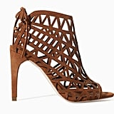 Zara lattice brown suede lace-up heel booties ($100)