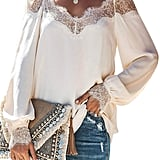 BLENCOT V-Neck Lace Blouse