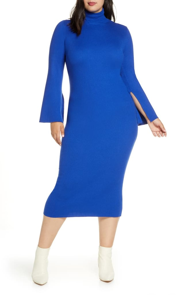 R29 x Eloquii Long Sleeve Rib Sweater Dress