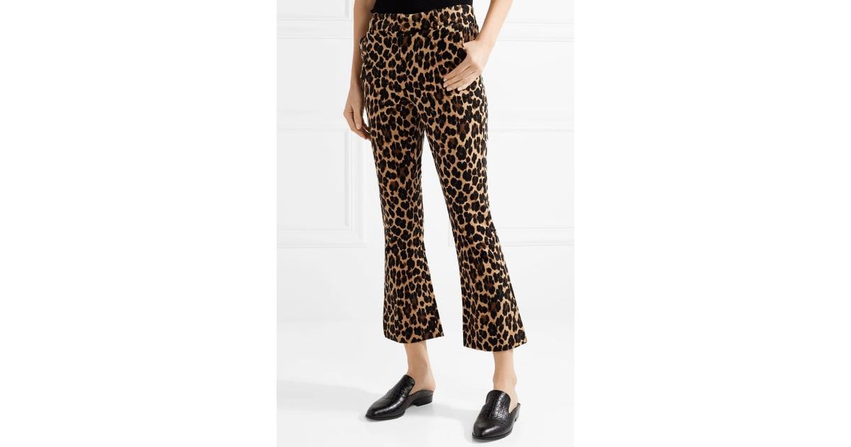 9630dec4aec8 Frame Cropped Leopard-Print Cotton-Blend Velvet Flared Pants | How to Wear Leopard  Print | POPSUGAR Fashion Photo 32