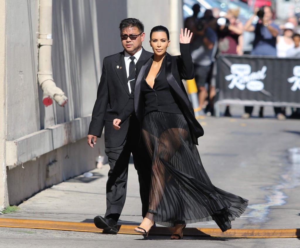 Kim Kardashian's Sheer Dress on Jimmy Kimmel Live! 2015
