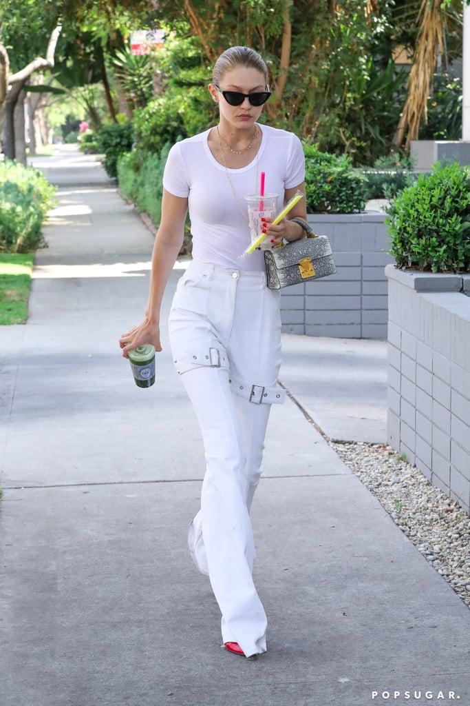 Gigi Hadid White Knee Buckle Jeans