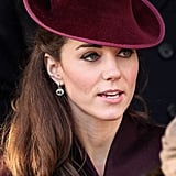 The Duchess of Cambridge wore her specially customised green amethyst earrings for the first time to the Sandringham Christmas Day church service in 2011, leading many to believe that they had been a Christmas present from Prince William. They have become a firm favourite and she has worn them many times since.