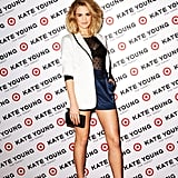 Nathalie Love posed in a cool white blazer and navy blue shorts getup for the Kate Young For Target campaign.