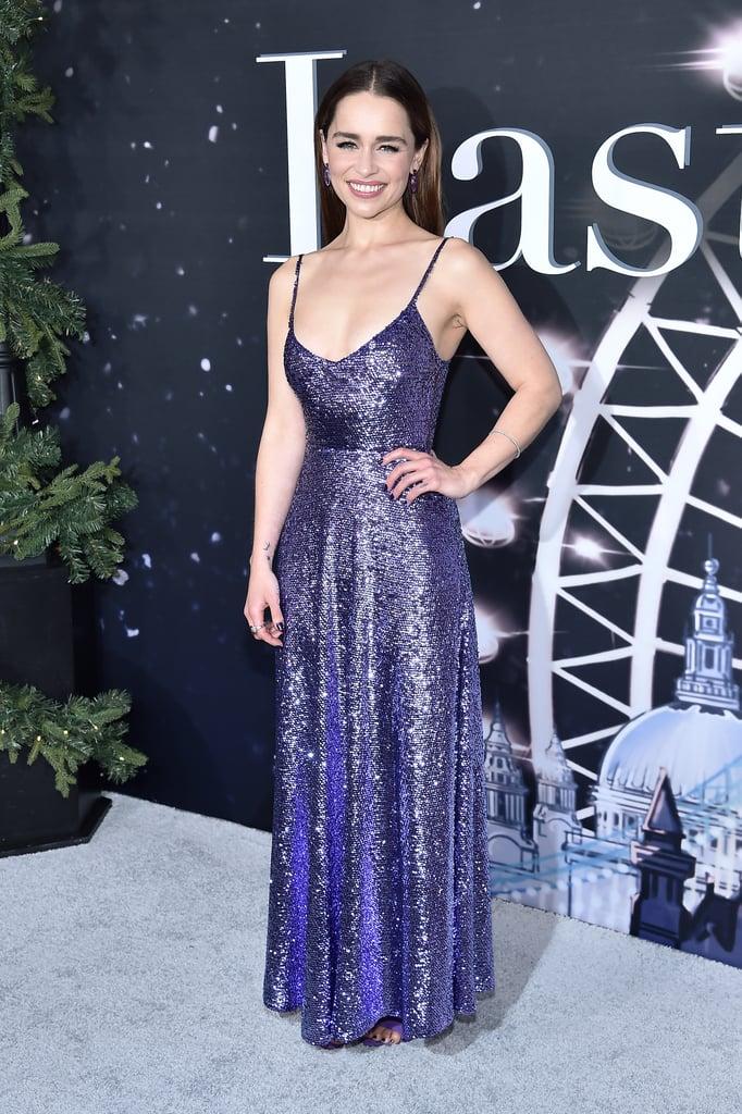 Emilia Clarke at the Last Christmas New York Premiere in Valentino