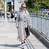 "Chunky sneakers give polka dots a ""right now"" feel."