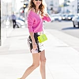 Stand out with a printed miniskirt and bold colors.