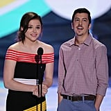Chloë Grace Moretz and Christopher Mintz-Plasse presented an award at the Teen Choice Awards.