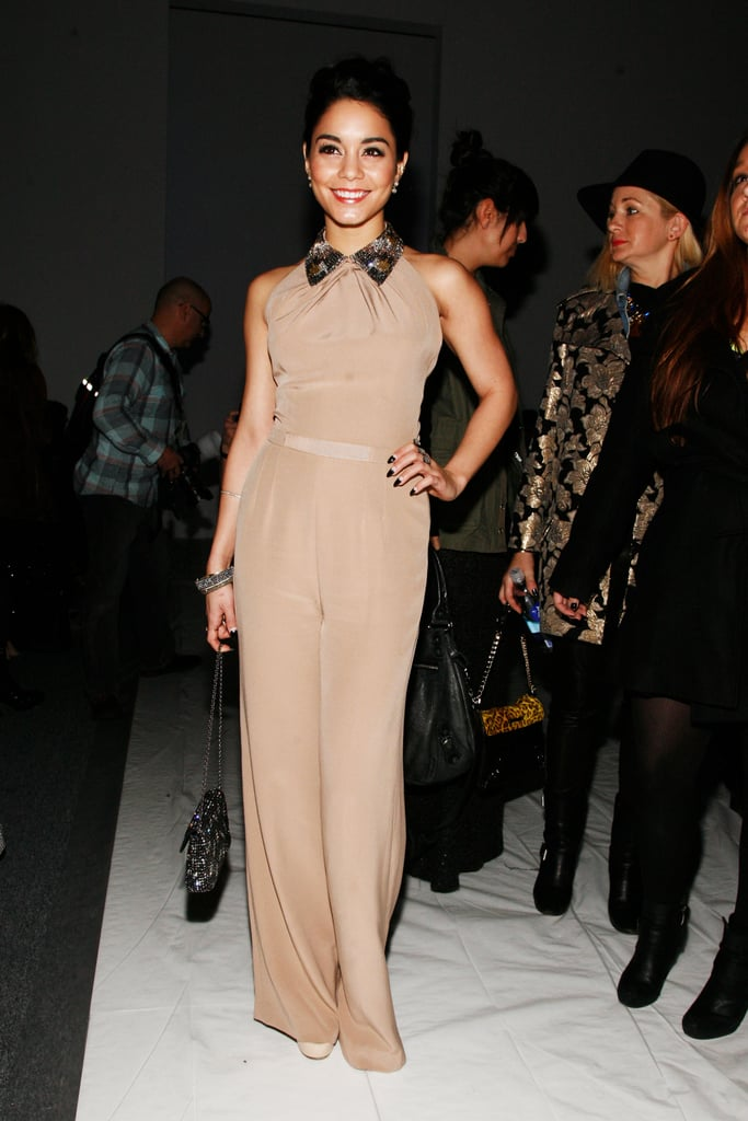 Vanessa Hudgens looked playful in an embellished-collar Jenny Packham jumpsuit and Jerome C. Rousseau platform sandals at Packham's show.