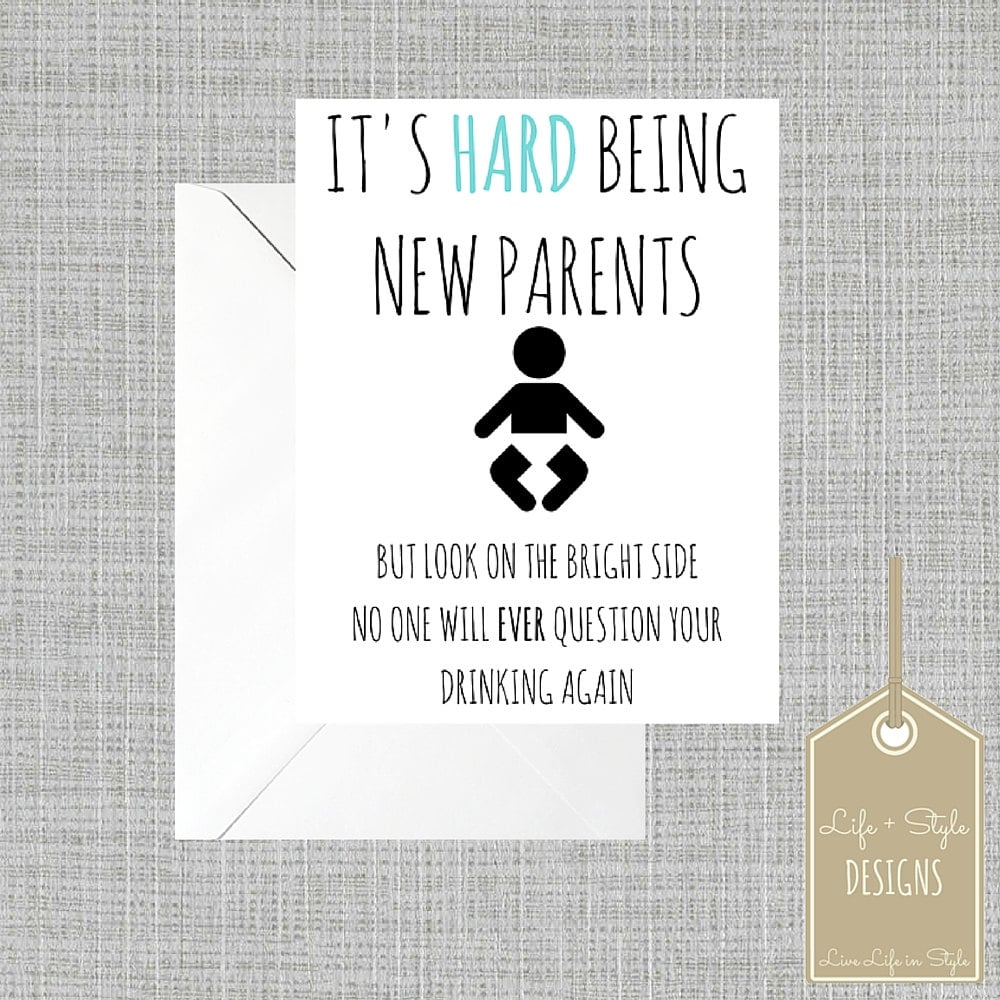 new parents funny card pregnancy modern You/'re Having A Baby lettering black confetti expecting white minimalist baby shower