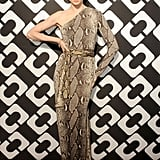As one of the evening's cohosts, Coco Rocha went all out in a superglam one-shoulder snakeskin gown by Diane von Furstenberg.