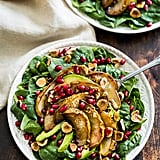 Roasted Pear Spinach Salad With Hazelnuts