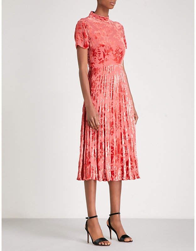 Whistles Harlow Pleated Devor Midi Dress Wedding Guest Dresses