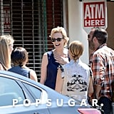 Dianna Agron, Jenna Ushkowitz, and Jane Lynch chatted after their meal.
