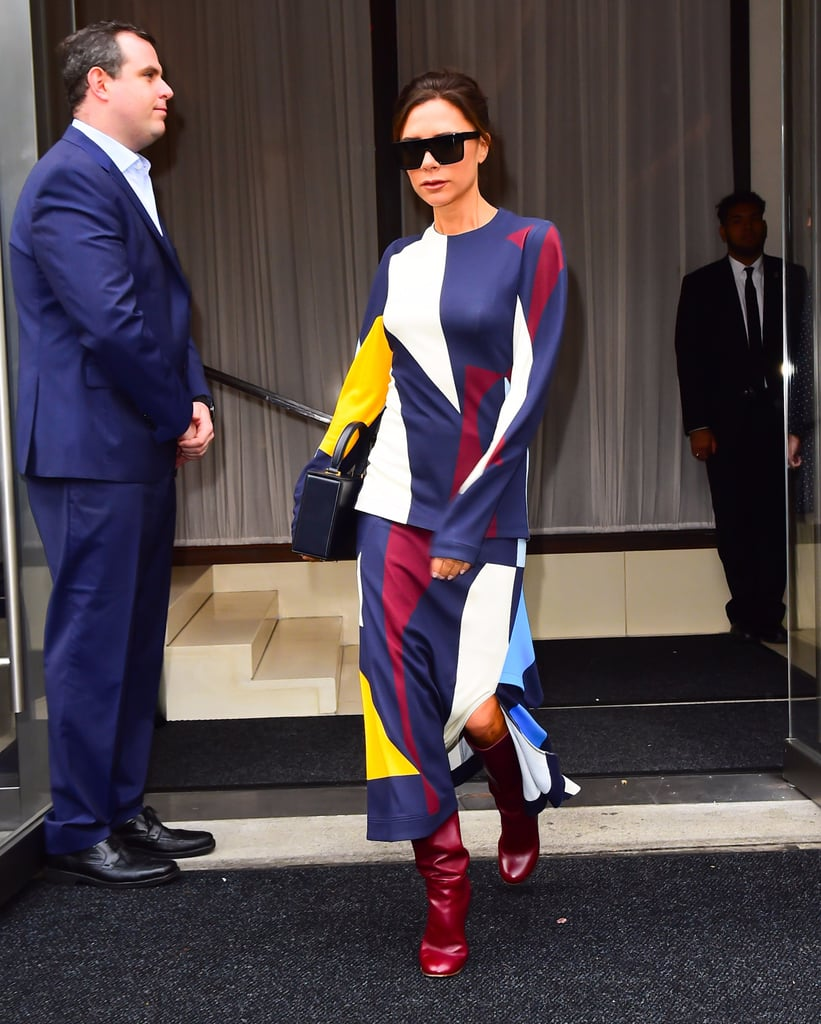 Victoria Beckham Wearing Graphic Print Outfit