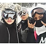 Kylie hit the mountain for some snowboarding.