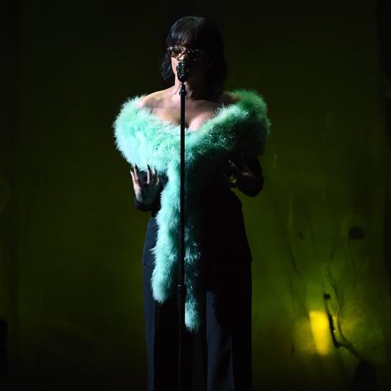 Rihanna Green Fur Scarf at Billboard Music Awards 2016