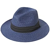 Lanzom Wide-Brim Straw Panama Roll-up Hat