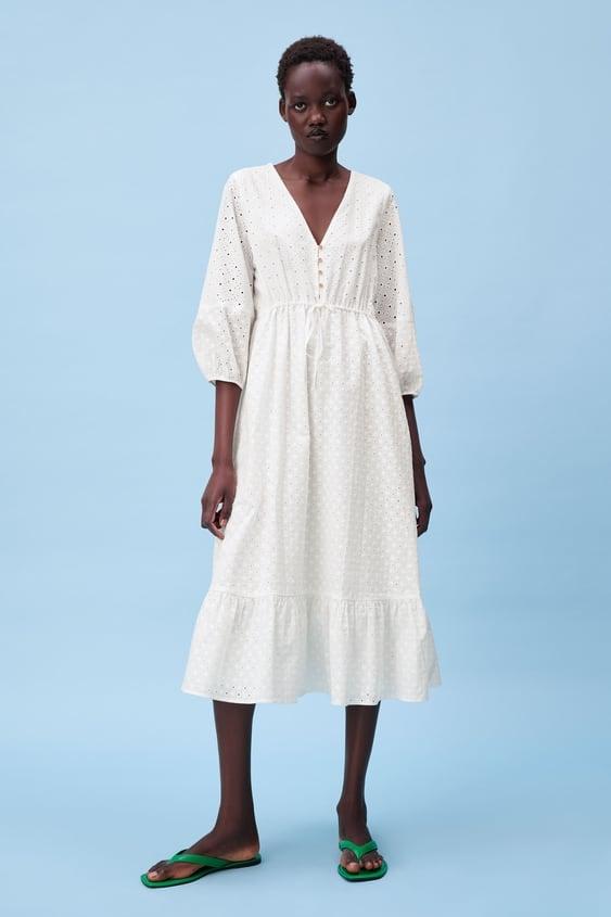Zara Dress With Cutwork Embroidery