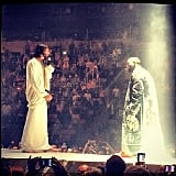 "Just when you thought someone who calls himself Yeezus couldn't go any further, Kanye brought out a Messiah look-alike during his debut show in Seattle on Oct. 19. During a performance of ""Jesus Walks,"" Kanye reportedly said: ""White Jesus, is that you?… Oh, sh*t!"" Source: Instagram user therajwacompany"