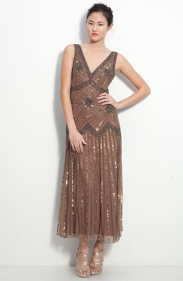 Channel Daisy's evening glamour with this Pisarro Nights Beaded Mesh Gown ($198).