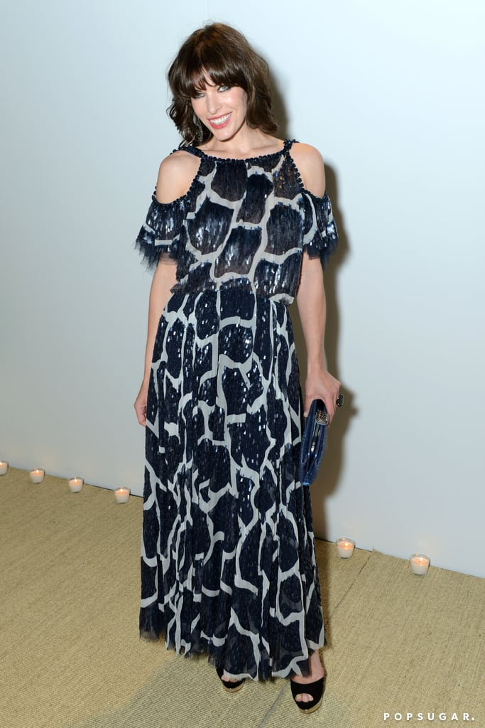 Milla Jovovich wore a patterned frock.
