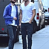 Robert and Tom Sturridge sported white t-shirts and sunglasses while hanging out together in NYC in August 2014.