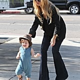Rachel Zoe ran after son Skyler Berman on a shopping trip in LA.