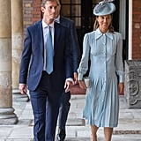 Pippa Middleton Wore the Alessandra Rich Silhouette in Pale Blue to Prince Louis's Christening in July 2018