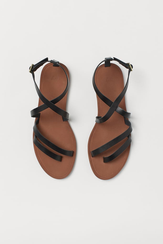 H\u0026M Strappy Leather Sandals   Best